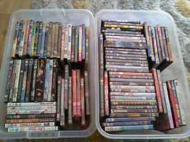 Dvds cds and cassette tapes and a couple of pc discs