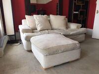 Cream/Pale Yellow Sofa With Matching Pouffe