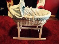 Baby blue and white wicker Moses basket and white solid wood stand