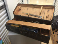 Old HandMade Wood Toolbox with tools inside.