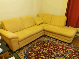 Faux Suede Sofa Bed Excellent condition. Imported from Switzerland.