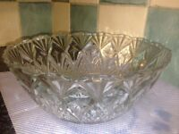 Lead cut glass and frosted fruit bowls