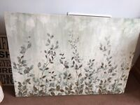 Large sage green leaf canvas picture