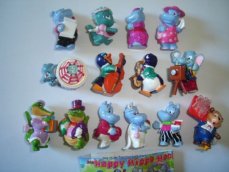 KINDER SURPRISE SET - HAPPY HIPPOS WEDDING MARRIAGE 1999 - FIGURES COLLECTIBLES