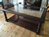 Dark wood coffee table.