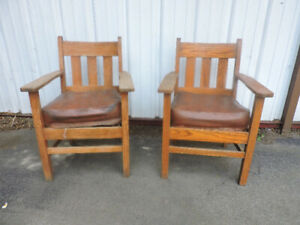 Mission oak chairs (pair)