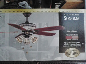 "52 "" TIFFANY LIGHT SHADE CEILING FAN - $185"
