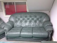 Green leather sofas armchair suites
