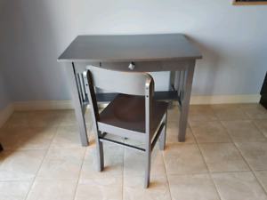Metallic Desk and Chair