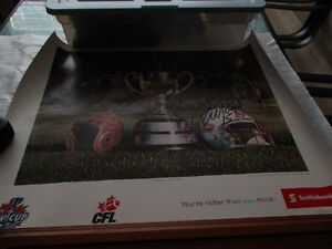 95th Grey Cup, 2007 Poster and football autographed by Ricky Rae