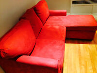 Red Couch with chaise longue