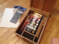 Paint box/stand with art supplies