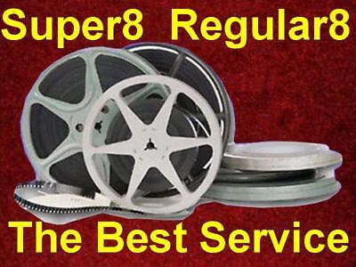 1000 - 1500 ft Super8 Regular8 8mm Film to MP4 Files or DVD Transfer Convert HD