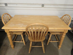 BUTCHER BLOCK KITCHEN TABLE & 3 CHAIRS