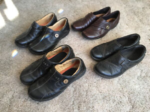 Four pairs Ladies Clarks shoes, $20/or.