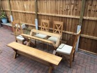 Oak and glass dining table with oak bench and 4 chairs