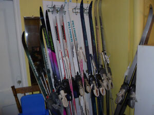 USED CROSS COUNTRY WAX LESS  SKI SETS,SNOWSHOES