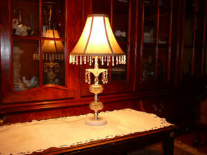 t. belle lampe table antique/1950 style HR cristal, marbre &soie