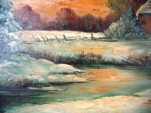 "Antique Early French Artist Paul Welsch ""Paysage d'Hiver"" 1927 Stratford Kitchener Area image 9"