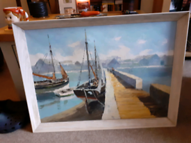OLD HARBOUR SCENE OIL ON CANVAS PAINTING DUTCH SCHOOL??