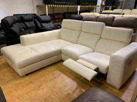 FREE DELIVERY off-white leather corner recliner sofa