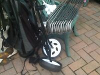 Set of left hand golf clubs bag and trolly