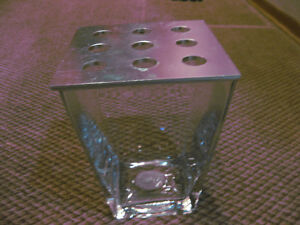 Heavy Glass Vase with Perforated Lid (Supports large flowers)