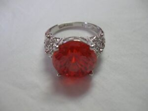 Sterling Silver Red Ring - size 10