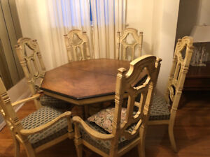 Dining Room Set with 6 Chairs and China Display Cabinet