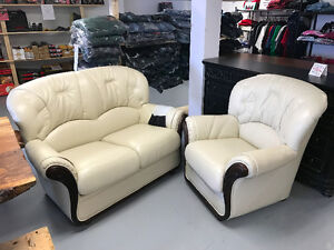 Leather sofas, love seats, chairs, and day beds