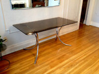 VINTAGE MODERN Smoked Glass + Chrome Dining TABLE