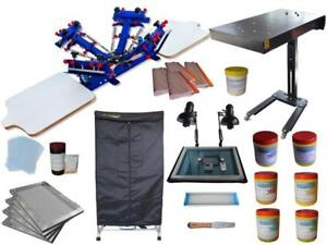 4 Color Screen Printing Materials Kit with Simple Drying Cabinet & Exposure 006943