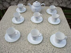 Corelle Teapot And 8 Cups with Saucers--Shadow Iris