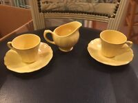 1950's Tea for two with cream jug yellow summer garden