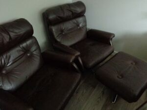 Retro Style Italian Leather Couch, two Chairs, one foot stool