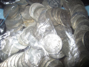 Large group of 250 1930s-1952 King George Silver 50 Cent Coins