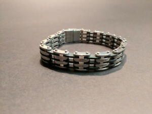 Black and Silver- Stainless Steel Mens Bracelet