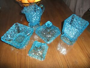 5 Pieces of Blue Press Glass.