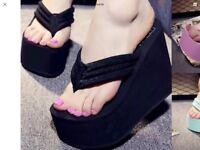 Flip flop high heels size 3.5 brand new sandles