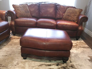 Genuine leather sofa, loveseat and ottoman