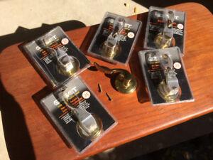 EZSET solid brass lever style closet or cabinet door handles.