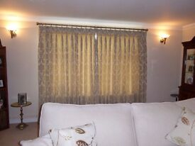 Beautiful Damask gold beige lined Curtains