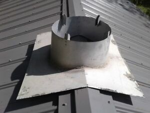 Roof peak flange for 6 inch insulated wood stove pipe