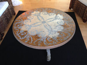 Antique Carved w/Glass Round Coffee Table