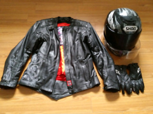 Women's Motorcycle Helmet, Leather Jacket and Gloves