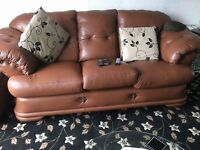 Brown Tan Leather 3 2 + Footstool Sofa Couch Settee