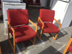 THE WISE SHOP JUST IN ----7 really nice rustic burnt red CHAIRS