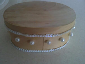 Handmade wooden pearl decorative keepsake jewelry box