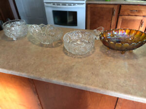 Pinwheel crystal and antique dishes