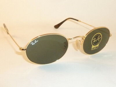 New RAY BAN Oval Flat Sunglasses Gold Frame  RB 3547N 001 G-15 Glass Lenses 51mm